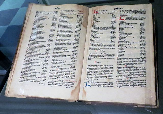 Венецианское издание «Естественной истории» 1499 года. Видны оглавление и перечень источников для каждой книги