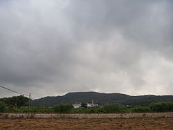 Albinyana, at the foothills of the Coast Rovira, seen from a vineyard