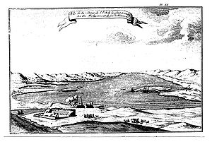 Puerto Soledad - The original setting of Port Saint Louis and Puerto Soledad. Dom Pernety, 1769. (Looking eastwards).