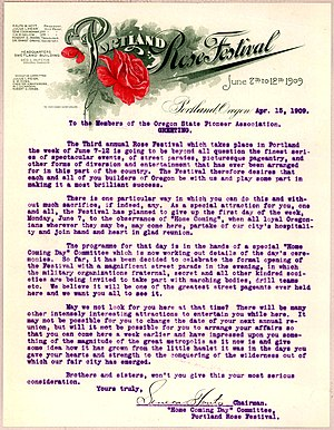Portland Rose Festival - Image: Portland Oregon Rose Festival letter April 15 1909