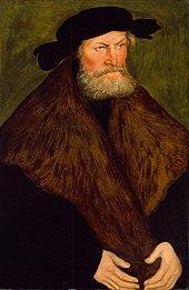 Herzog von Sachsen Heinrich der Fromme trat mit seinem Sohn 1536 zum Luthertum über, Porträt von Lucas Cranach dem Älteren (Quelle: Wikimedia)