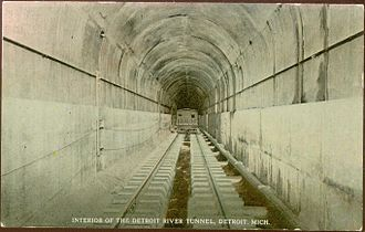 Michigan Central Railway Tunnel - Postcard, early 1900s