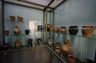 History of the Jews in Hungary - Medieval pottery artifacts inside the Sopron Synagogue Museum.