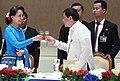 President Rodrigo Roa Duterte and Myanmar Minister for Foreign Affairs Aung San Suu Kyi toast 2.jpg
