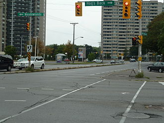 Prince of Wales Drive - Prince of Wales Drive at Hog's Back Road and Meadowlands Drive