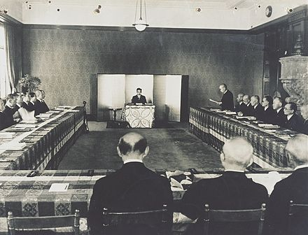 A meeting in the Japanese privy council in 1946 led by emperor Hirohito.