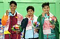 Priyanka singh (India) won the gold, SPS Niroshani (Sri Lanka) won the silver and Nadi chakma (Bangladesh) won the bronze medal in 48kg female wrestling, at 12th South Asian Games-2016, in Dispur, Guwahati.jpg