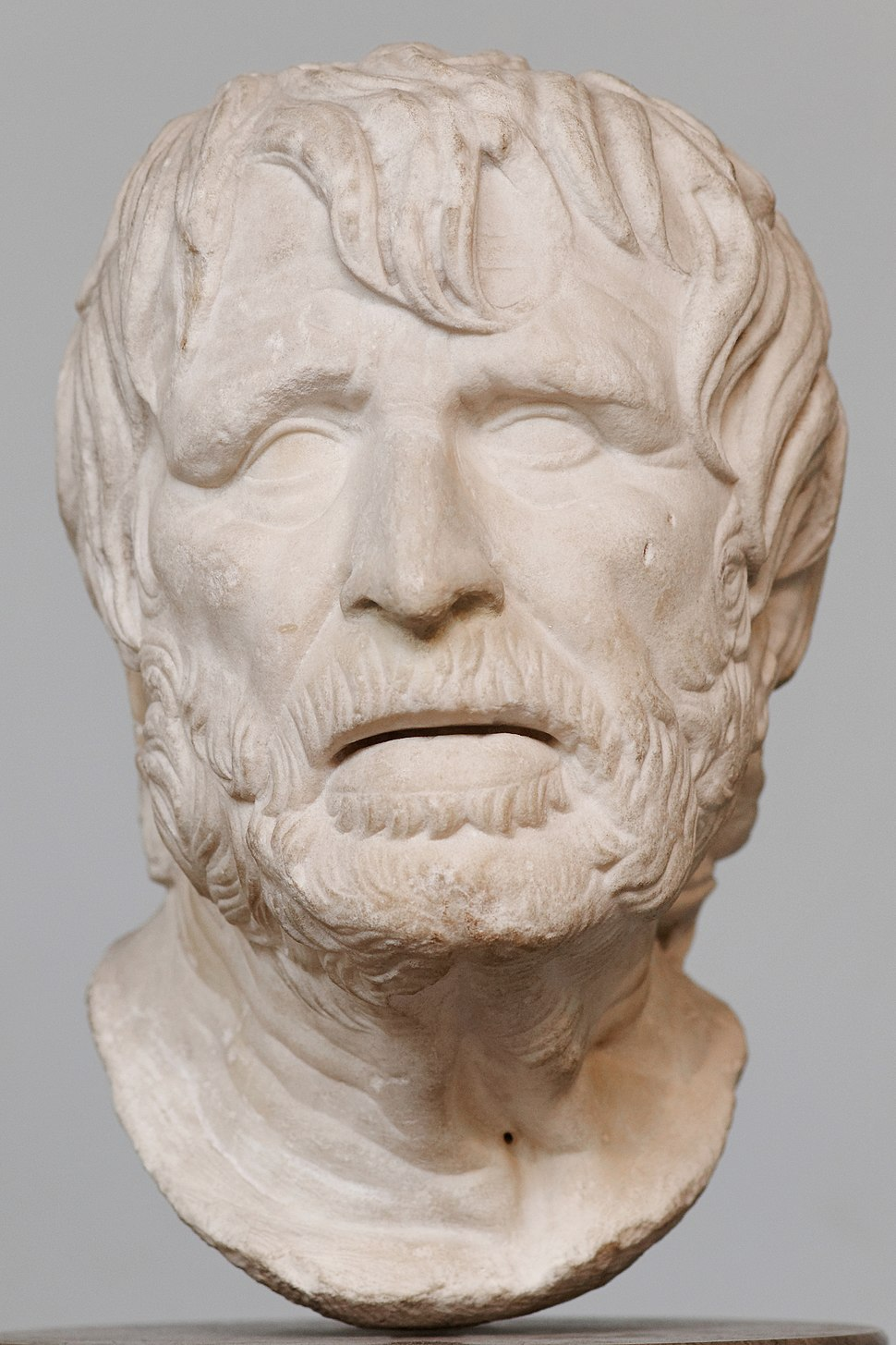 The bust was identified for a very long time with the Roman philosopher Seneca the Younger, but it may actually represent Hesiod.