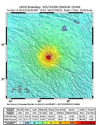 2010 Yushu earthquake - USGS ShakeMap