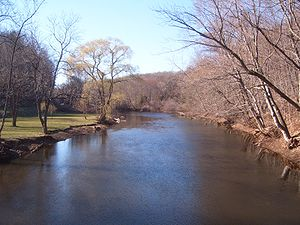 "Quinnipiac River - The Quinnipiac River, as seen looking west (upstream) from ""Red Bridge"" in Meriden, Connecticut"