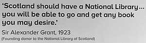 Sir Alexander Grant, 1st Baronet - Image: Quote from Sir Alexander Grant, founding donor of National Library of Scotland