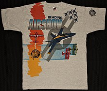 1993 Reading Airshow T-shirt featuring U.S Navy Blue Angels and the U.S.A.F Thunderbird's.
