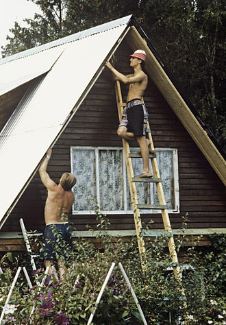 Dacha - Battening a country house in a dacha co-operative in the environs of Moscow, 1993