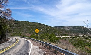 Ranch to Market Road 337 - Looking east on Ranch to Market Road 337 about 4 miles west of Leakey.