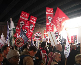 National Union of Rail, Maritime and Transport Workers - RMT members protest at the 2011 anti-cuts protest in London