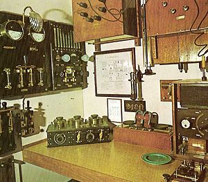 Magnetic detector - Recreation of a Marconi ship radio room at the Aalborg Maritime Museum, Aalborg, Denmark. A magnetic detector is on the desk to right of the Marconi tuner receiver, which provided the signal for the magnetic detector.