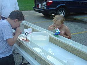 Raingutter regatta - Cub Scouts compete in a raingutter regatta race