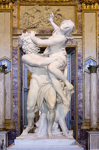 The Rape of Proserpina by Gian Lorenzo Bernini, 1621-22, at the Galleria Borghese in Rome. Rape of Prosepina September 2015-3a.jpg