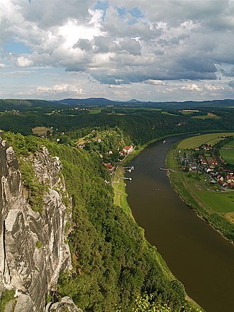 Rathen - View of Rathen from the Bastei