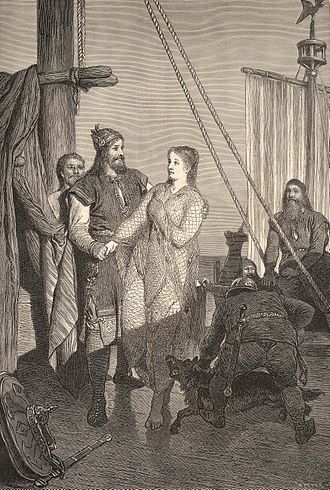 Ragnar Lodbrok - Ragnar receives Kráka (Aslaug), as imagined by August Malmström.