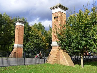 Hurst Park Racecourse - Brick piers at the entrance of the former Hurst Park racecourse, in 2012