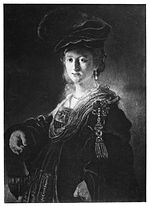 Rembrandt - Half-length figure of a young woman in fanciful custume.jpg
