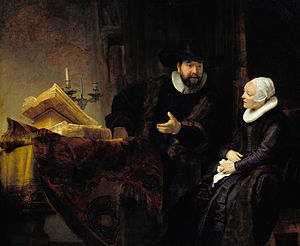 """Portrait of the Mennonite preacher Cornelius Claesz Anslo and his wife Aeltje Gerritsdr Schouten"" by Rembrandt, 1641. Gemäldegalerie, Berlin. Source: http://commons.wikimedia.org/wiki/File:Rembrandt_-_The_Mennonite_Preacher_Anslo_and_his_Wife_-_Google_Art_Project.jpg."