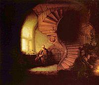 El filósofo. Cuadro por Rembrandt.