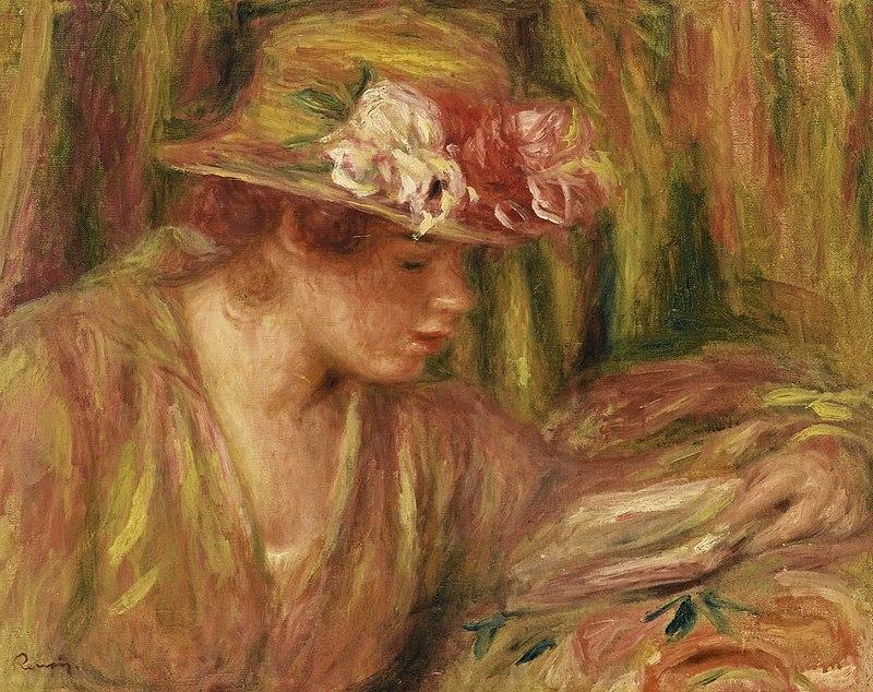 Renoir - Buste de femme (Andrée en chapeau lisant, la tête tournée à droite), 1917.jpg