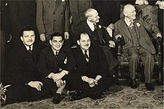 Carl Laemmle - Carl Laemmle (seated far right) and Irving Leroy Ress (sitting, far left) at Laemmle's 70th birthday celebration, 1937.