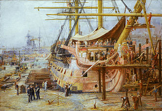 HMS Victory - Restoring HMS Victory (William Lionel Wyllie, 1925)