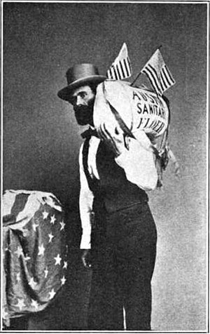 "Flour sack - A photo of Reuel Colt Gridley, who became famous in the United States in 1864 by repeatedly selling a sack of flour to raise money for the ""Sanitary Fund"" (to help wounded U.S. Civil War veterans). This picture was reportedly published in Harper's Weekly in 1865."