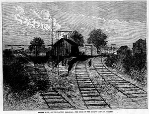Eastern Railroad - Woodcut of the Revere station, made shortly after the 1871 accident