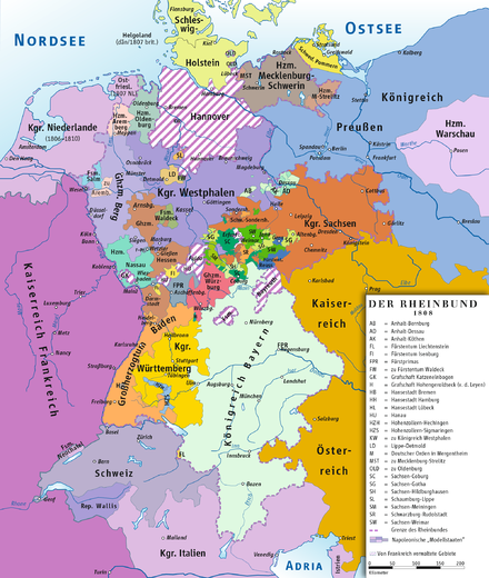 Member states of the Confederation of the Rhine, 1808 (greatest extent) Rheinbund 1808, political map.png