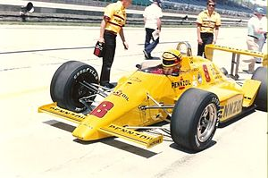 1987 Indianapolis 500 - Rick Mears in a Penske PC-16 chassis during the first week of practice.