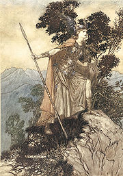 Brunnhilde the Valkyrie, as illustrated by Arthur Rackham (1910) Ring22.jpg