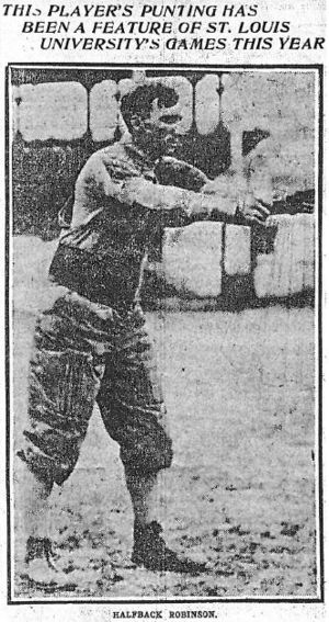 Punt (gridiron football) - St. Louis Post-Dispatch photograph (1905), of Bradbury Robinson, football's first triple threat man, preparing to punt