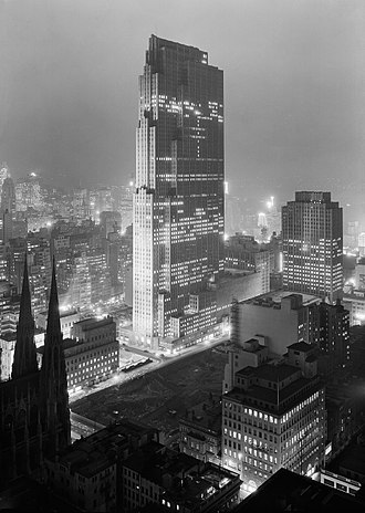 30 Rockefeller Plaza - Rockefeller Center, featuring the RCA Building (December 1933)