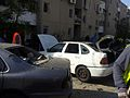 Rocket hitting car Beer Sheva 2012 01.jpg