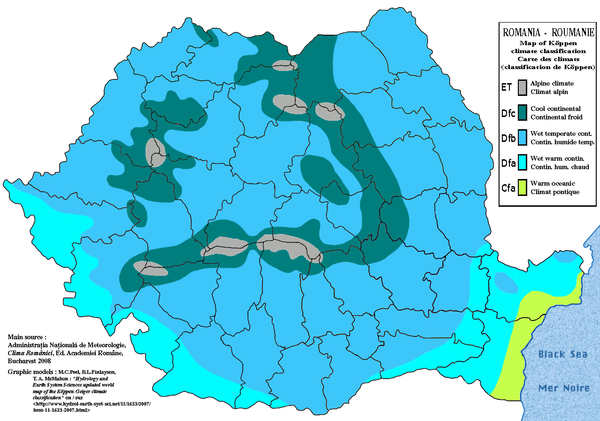 Romania map of Koppen climate classification, according with Clima Romaniei from the Administratia Nationala de Meteorologie, Bucharest 2008 Romania map of Koppen climate classification.png