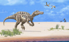 Artist's depiction of a coastline in the Romualdo Formation. In the foreground, Irritator approaches the water, surrounded by nearby patches of foliage. Above the coastline are two pterosaurs in flight, and in the distance at the far right, a small theropod dinosaur is being fended off by a pterosaur on all fours.