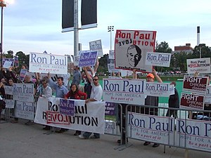 Republican Party presidential debates and forums, 2008 - Ron Paul supporters outside of the debate venue