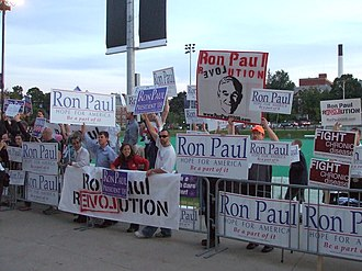 2008 Republican Party presidential debates and forums - Ron Paul supporters outside of the debate venue