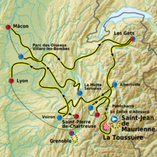 The route of the 2011 Critérium du Dauphiné