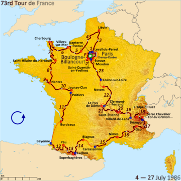 Route of the 1986 Tour de France