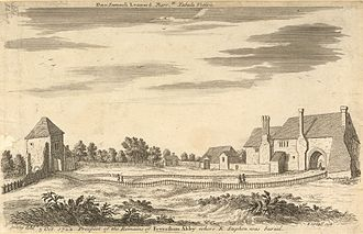 Faversham - Faversham Abbey, sketched by Stuckeley in 1722, was established by King Stephen in 1148.