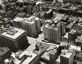 Martin Place - Aerial view of the eastern part of Martin Place in 1936, after the completion of the final extension to Macquarie Street in 1935.