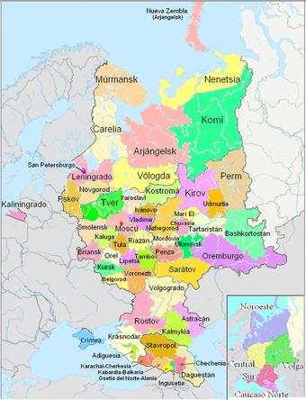 Rusia europea dividida en sujetos federales y, en el recuadro menor