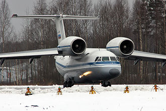 Antonov An-72 - A Russian Navy An-72 showing the front view that resembles 'Cheburashka'.