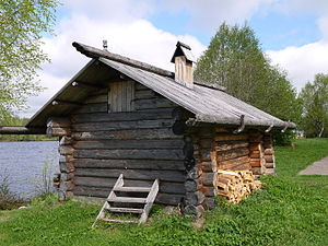 Banya (sauna) - Traditional Northern Russia banya in Mandrogy open air museum.